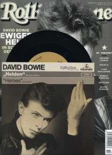 """Zeitschriften: ROLLING STONE Oktober 2017 + 7"""" Vinyl-Single David Bowie """"Helden""""/""""Heroes"""" + CD """"Rare Trax # 108"""", Zeitschrift"""