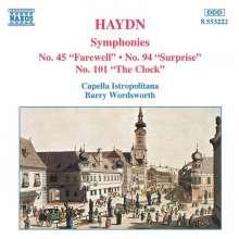 Joseph Haydn (1732-1809): Symphonien Nr.45,94,101, CD