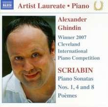 Alexander Scriabin (1872-1915): Klaviersonaten Nr.1,4,8, CD