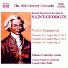 Chevalier de Saint-Georges (1739-1799): Violinkonzerte op.5 Nr.1 & 2;op.8, CD