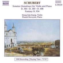 Franz Schubert (1797-1828): Sonatinen für Violine & Klavier D.384,385,408, CD