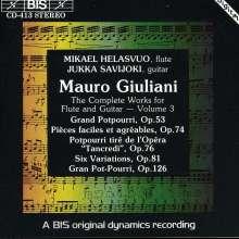 Mauro Giuliani (1781-1829): Werke für Flöte & Gitarre Vol.3, CD