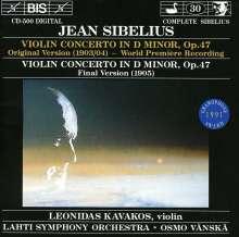 Jean Sibelius (1865-1957): Violinkonzert op.47 (Urfassung v.1903), CD