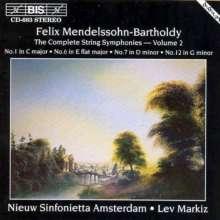 Felix Mendelssohn Bartholdy (1809-1847): Streichersymphonien Nr.1,6,7,12, CD