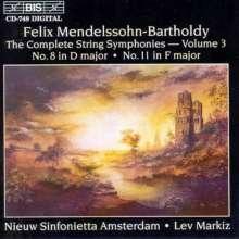Felix Mendelssohn Bartholdy (1809-1847): Streichersymphonien Nr.8 & 11, CD