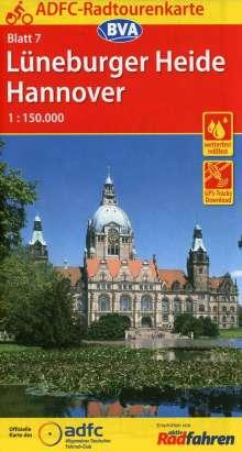 ADFC-Radtourenkarte 7 Lüneburger Heide /Hannover 1:150.000, reiß- und wetterfest, GPS-Tracks Download und Online-Begleitheft, Diverse