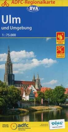ADFC-Regionalkarte Ulm und Umgebung mit Tagestouren-Vorschlägen, 1:75.000, Diverse