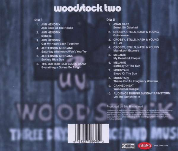 Woodstock 40th Anniversary Woodstock Two 2 Cds Jpc