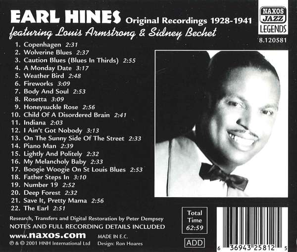 Earl Hines: Feat.Louis Armstrong & Sidney Bechet (CD) – jpc Earl Hines And Louis Armstrong
