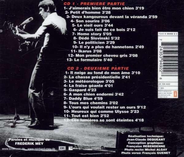 Reinhard Mey: Bobino - 25 Chansons / Enregistrement Public, 2 CDs (Rückseite)