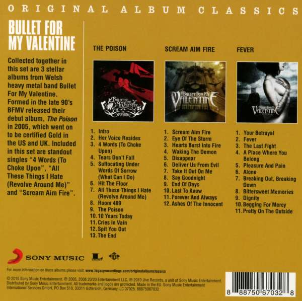 Bullet For My Valentine Original Album Classics 3 Cds Jpc